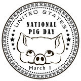 National Pig Day. First of March - National Day of Pigs in the United States. Vector illustration Stock Images