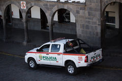 National Police Car Parked In Plaza Cusco Peru Royalty Free Stock Photos