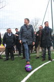 national president PD Matteo Renzi plays football Stock Images