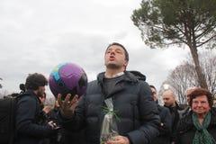 National president PD Matteo Renzi plays football Stock Photo