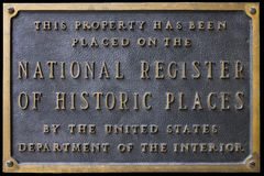 National Register of Historic Places Sign Plaque. National Register of Historic Places sign or plaque stating that this property has been placed on the National Royalty Free Stock Image