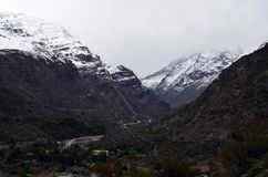 National Reserve RÃo Blanco, Mittel-Chile, ein hohes Tal der biologischen Vielfalt in Los Anden Stockbild