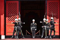 National Revolutionary Martyrs` Shrine. Taiwan honor guard in handing-over ceremony at National Revolutionary Martyrs` Shrine on January 3rd, 2018 in Taipei Royalty Free Stock Image