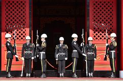 National Revolutionary Martyrs` Shrine. Taiwan honor guard in handing-over ceremony at National Revolutionary Martyrs` Shrine on January 3rd, 2018 in Taipei Royalty Free Stock Photo