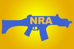 National Rifle Association concept. NRA sign concept illustration with blue rifle figure on yellow background Royalty Free Stock Photography