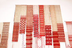National ritual cloths embroidered with symbols and cryptograms rushnyk from all part of Ukraine, Kyiv Stock Images