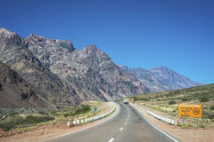 National Road 7 passing by the Department of Las Heras in Mendoz Royalty Free Stock Images
