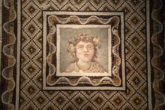 The ancient roman mosaic in National Roman Museum, Roman, Italy royalty free stock photo