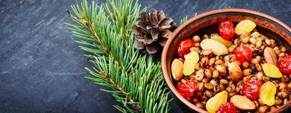 Traditional christian Christmas dish, kutya. National Russian Christmas dish, a porridge with raisins and almonds, kutya Royalty Free Stock Photos