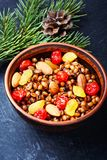 Traditional christian Christmas dish, kutya. National Russian Christmas dish, a porridge with raisins and almonds, kutya Stock Images