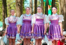 National russian dresses girls Royalty Free Stock Image