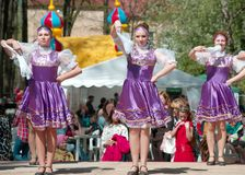 National russian dresses girls stock images