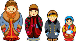 National Russian nesting dolls russian family. National Russian nesting dolls depicting the family of the merchant Royalty Free Stock Photo