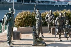 `A National Salute Military` in the Port of San Diego 15 bronze figures representing the men and women of all military branches - stock photos