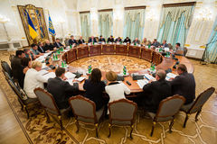 National Security and Defense Council meeting. KIEV, UKRAINE - Sep 02, 2015: The meeting of the National Security and Defense Council (NSDC) in Kiev Royalty Free Stock Photos