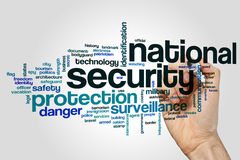 National security word cloud. Concept on grey background Stock Photo