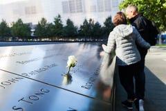 National September 11 Memorial in Lower Manhattan, New York City. New York City, USA - October 06, 2015: National September 11 Memorial in Lower Manhattan. It stock photos
