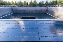 National September 11 Memorial in Lower Manhattan, New York City. New York City, USA - October 06, 2015: National September 11 Memorial in Lower Manhattan. It royalty free stock photography