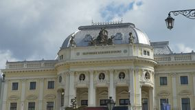 National Slovak Theater in Bratislava stock video footage