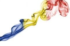 Romania national smoke flag stock image
