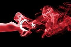 Turkey national smoke flag. National smoke flag of Turkey isolated on black background stock images