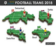 National soccer teams 2018 group E . Football player and flag on 3d design country map . isolated background . Vector for internat. Ional world championship Royalty Free Stock Image