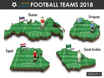 National soccer teams 2018 group A . Football player and flag on 3d design country map . isolated background . Vector for internat. Ional world championship Stock Photography