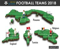 National soccer teams 2018 group G . Football player and flag on 3d design country map . isolated background . Vector for internat. Ional world championship Stock Images