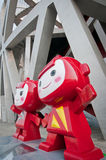 National Stadium. Beijing, China - April 2nd, 2013: 2008 Summer Olympic Games mascots in front of National Stadium in Chaoyang District, commonly known as Bird's Stock Photo