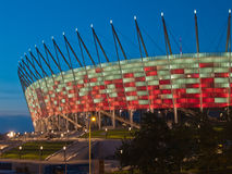 National stadium at night, Warsaw, Poland Royalty Free Stock Images
