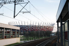 National stadium and a railroad station in Warsaw, Poland Royalty Free Stock Photos