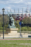 National Stadium and Statue of Mermaid in Warsaw, Poland Royalty Free Stock Images