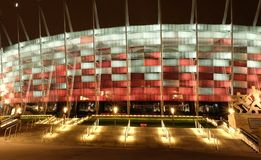 National Stadium in Warsaw illuminated at night by national colors Stock Photography