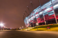 National Stadium in Warsaw illuminated at night Royalty Free Stock Image