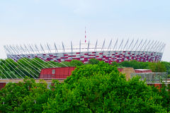The National Stadium in Warsaw seen from the west bank of the Vistula river, Poland. Royalty Free Stock Photography