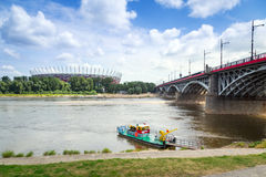 National Stadium in Warsaw at the Vistula river, Poland Stock Photos