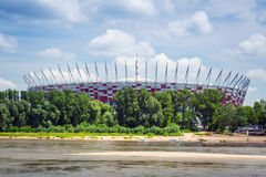 National Stadium in Warsaw at the Vistula river, Poland Stock Images