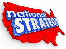 National Strategy 3d Words Unitest States America Map Stock Photo