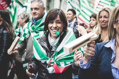 National Strike of tourism in Milan on October, 31 2013 Royalty Free Stock Photos