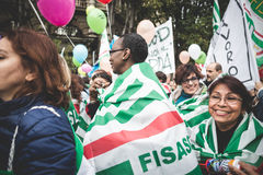 National Strike of tourism in Milan on October, 31 2013 Royalty Free Stock Photography
