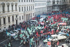 National Strike of tourism in Milan on October, 31 2013 Royalty Free Stock Images