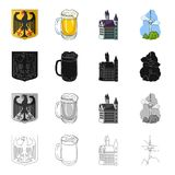 National, symbol, Germany, and other web icon in cartoon style.History, tourism, recreation icons in set collection. Royalty Free Stock Image