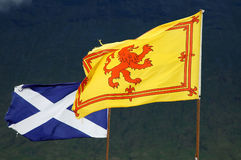 National symbols. Scottish flags - The royal flag and St Andrew's Cross stock photography