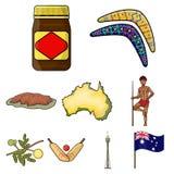 National symbols of australia. Web icon on Australia theme.Australia icon in set collection on cartoon style vector Royalty Free Stock Photo