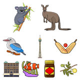National symbols of australia. Web icon on Australia theme.Australia icon in set collection on cartoon style vector Stock Images