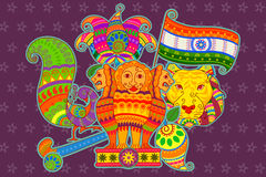 National symbols of India in Indian art style Stock Images