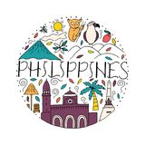 National symbols of Philippines in circle shape. stock illustration