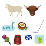 National symbols of Scotland. Scottish attractions. Scotland country icon in set collection on cartoon style vector. Symbol stock web illustration Stock Images