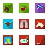 National symbols of Scotland. Scottish attractions. Scotland country icon in set collection on flat style vector symbol Stock Photo