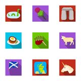 National symbols of Scotland. Scottish attractions. Scotland country icon in set collection on flat style vector symbol Stock Images